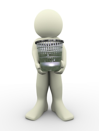 waste basket: 3d man carrying waste basket  3d illustration of human character