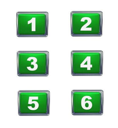 pushbutton: 3d render of push button numbers series from 1 to 6  Stock Photo
