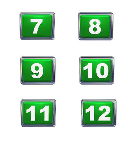 3d render of push button numbers series from 7 to 12 Stock Photo - 13414716