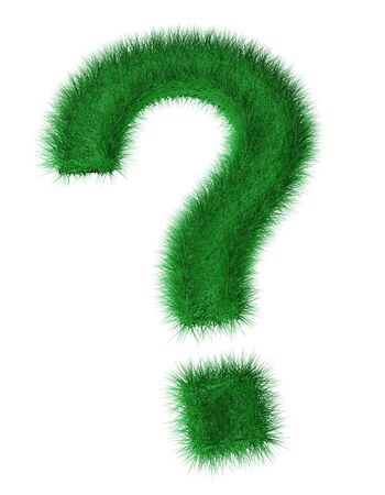 3d render of question mark created with grass  photo