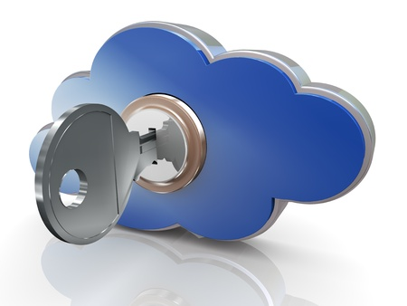 protected database: 3d render of secure cloud computing concept