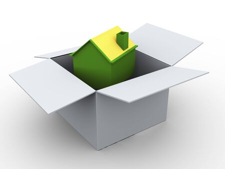 3d render of house in the box photo