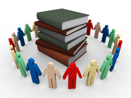 3d render of people around books photo