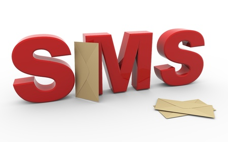 short message service: 3d render of word sms  short message service  with envelopes