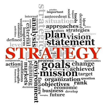 strategic planning: Illustration of wordcloud related to word strategy. Stock Photo