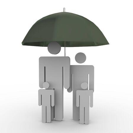 3d de la familia en concepto paraguas de seguro familiar Foto de archivo