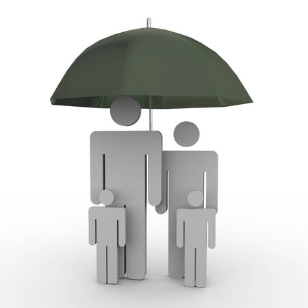3d render of family under umbrella  Concept of family insurance