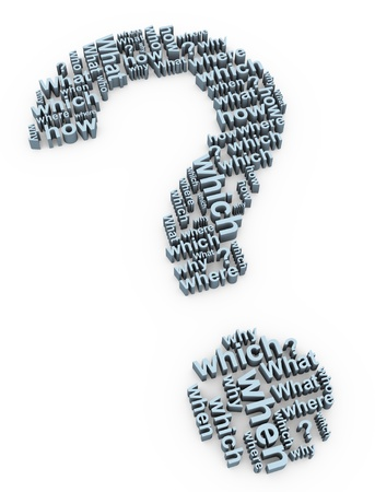 whose: 3d render of question mark words symbol Stock Photo
