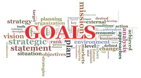 accomplishing: Illustration of wordcloud related to word goals