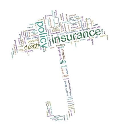 Illustration of umbrella made up of insurance related wordcloud  illustration