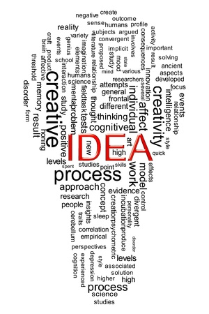 conceptual bulb: Illustration of idea wordcloud created in bulb shape Stock Photo