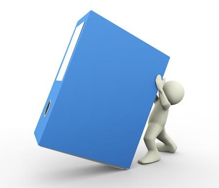 file box: 3d render of man holding binder  3d illustration human character Stock Photo