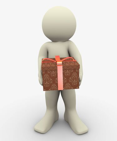 3d man holding gift box  3d illustration of human character