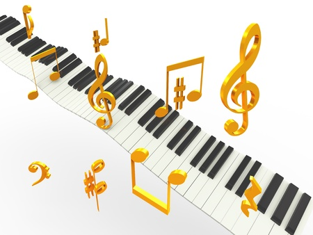 notation: 3d music piano keys with golder musical notes symbols Stock Photo