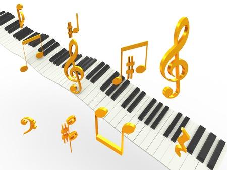 partition musique: 3d touches de piano de musique avec Golder symboles des notes de musique