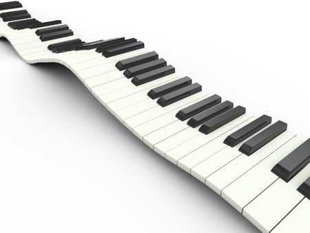 3d render of wavy piano musical keyboard photo