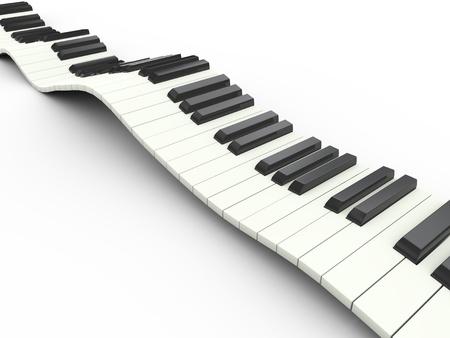3d render of wavy piano musical keyboard photo