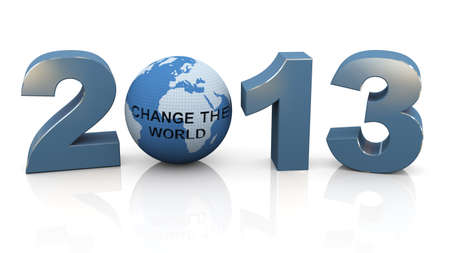 3d render of year 2013 and globe with text change the world. photo