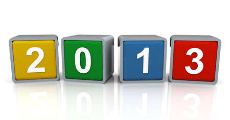 3d render of colorful text box of new year 2013 photo