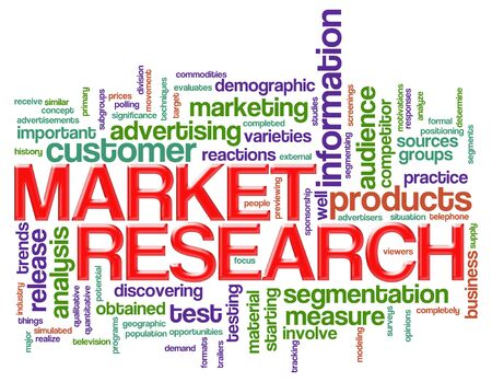 Illustration of wordcloud of market research concept illustration