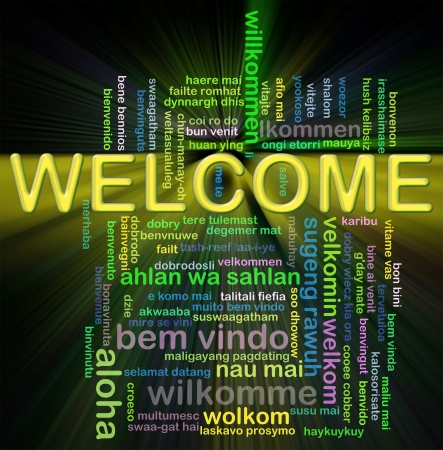 french text: Illustration of wordcloud representing word welcome in world different languages.
