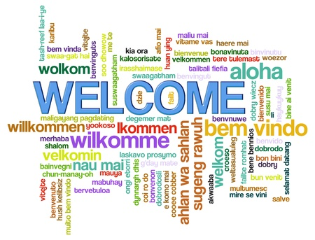 website words: Illustration of wordcloud of welcome in world different languages. Stock Photo