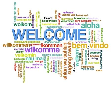 bienvenidos: Ilustraci�n de wordcloud de bienvenida en los idiomas del mundo diferentes.