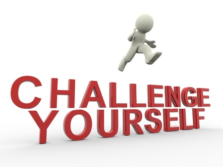 believe: 3d del hombre saltando por encima de desafío