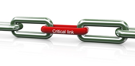 chained link: 3d render of chain with red unique critical link Stock Photo
