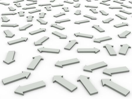 directional arrow: 3d render of arrows moving on different direction   Stock Photo