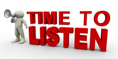 oir: 3d de hombre con meg�fono con el tiempo de pie para escuchar sentencia 3d ilustraci�n del car�cter humano