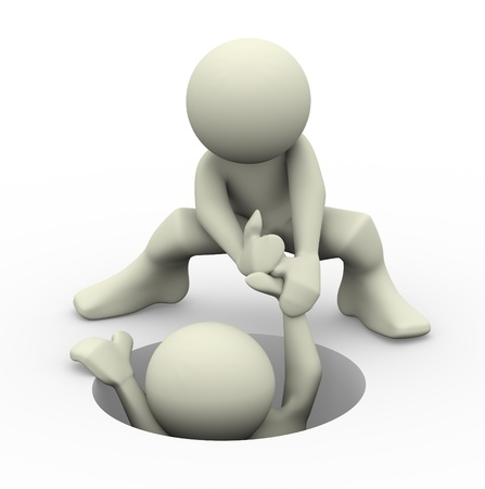 personas ayudando: 3d de una persona que ayuda a otro hombre ilustración 3D de las personas de caracteres humanos