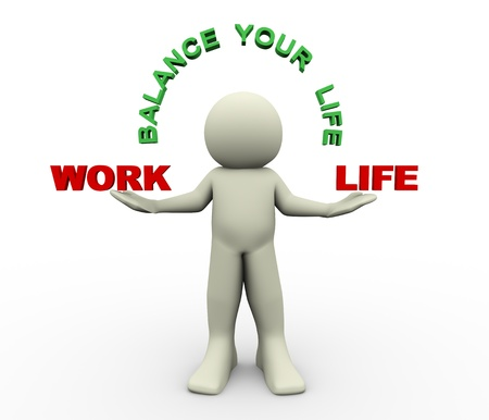 harmony idea: 3d render of man holding work and life word  3d illustration of human character  Stock Photo