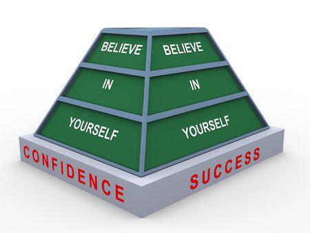 believe: 3d de la pirámide de texto creer en ti mismo Foto de archivo
