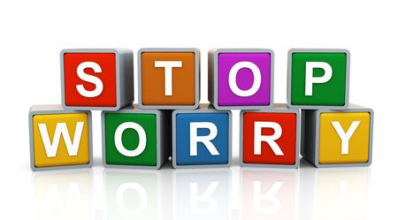 3d render of reflective shiny text boxes of word stop worry Stock Photo - 14296017