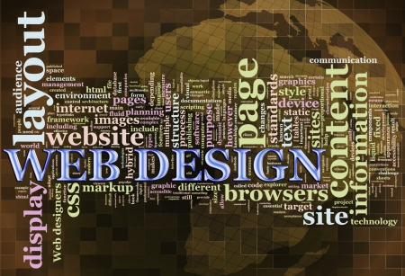 web designing: Illustration of wordcloud related to word