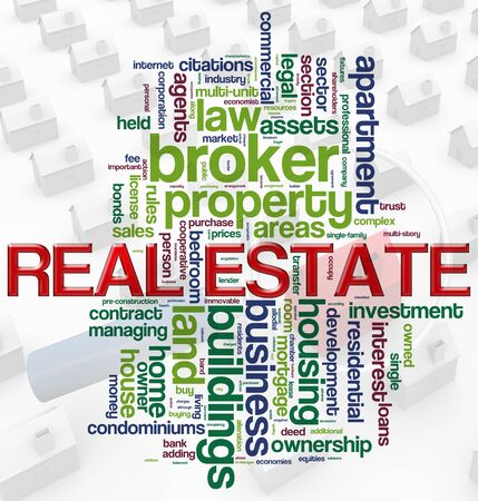real: Illustration of wordcloud representing words related to concept of real estate