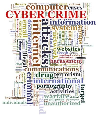 Illustration of Wordcloud representing concept of cyber crime illustration
