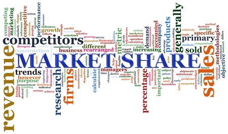 Illustration of Wordcloud representing concept of market share  illustration