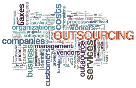 outsourcing: Illustration of wordcloud related to word outsourcing