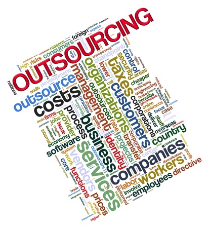 procure: Illustration of wordcloud tags related to concept outsourcing