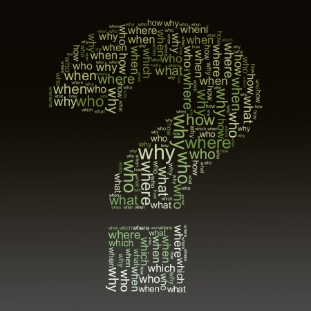 Illustration of question mark symbol created with question words illustration