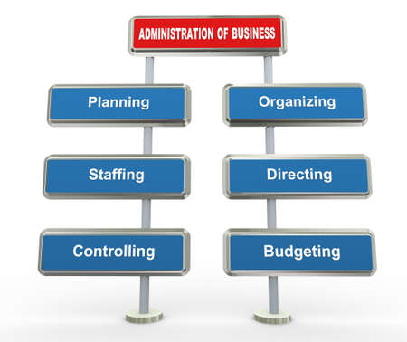 3d render of key elements of business administration photo