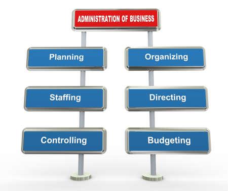 economia aziendale: 3D rendering di elementi chiave della gestione aziendale