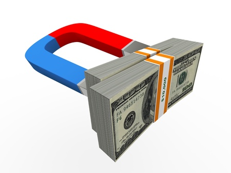 monetary: 3d rendering of magnet and dollar pack Stock Photo