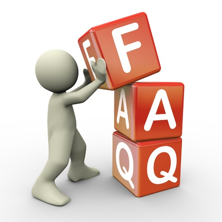 asked: 3d render of man placing faq  frequently asked question  cubes  3d illustration of human character