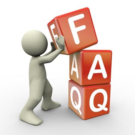 chiesto: 3D rendering di porre l'uomo faq frequently asked cubi questione 3d illustrazione di carattere umano