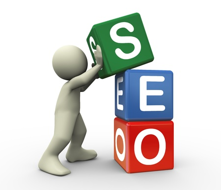 search engine optimized: 3d render of man placing seo  Search Engine Optimization  cubes  3d illustration of human character