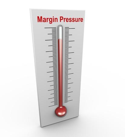 margine: Render 3d di termometro pressione sui margini buzzword