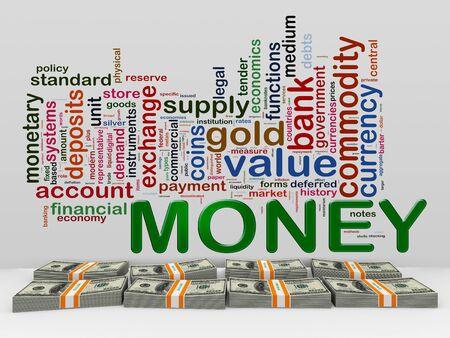 money packs: 3d rendering of money wordcloud and dollar packs.